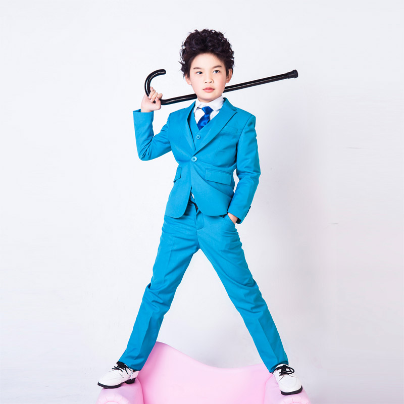 de la moda y elegante honorable solapa kid esmoquin boy ternos boda especial regular peinada del color azul del muchacho en traje de los muchachos de