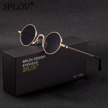 SPLOV Vintage Rap Sunglasses Men Women Steam Punk Style Hip Hop Small Round Metal Frame Eyewear Retro Gafas De Sol With Case