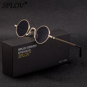 Image 1 - SPLOV בציר ראפ משקפי שמש גברים נשים קיטור פאנק בסגנון היפ הופ קטן עגול מתכת מסגרת משקפי שמש רטרו Gafas דה סול עם מקרה