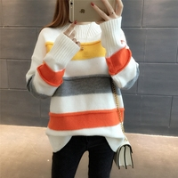 Loose Color Block Decoration Stripe Sweater Outerwear All Match Thickening 2017 Pullover