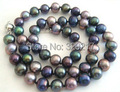 NATURAL TAHITIAN GENUINE BLACK PEACOCK GREEN MULTIC PEARL NECKLACE AAA