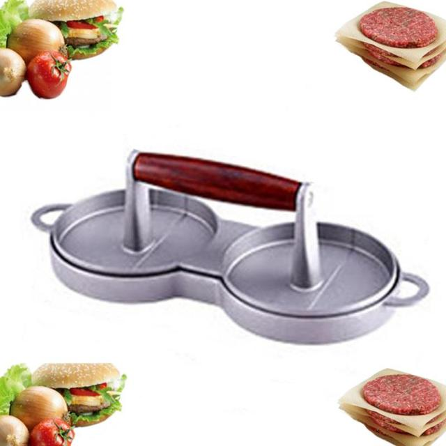 DIY Cakes Patty Maker Aluminum Nonstick Double Burger Press Hamburger Crab Home Kitchen Accessories