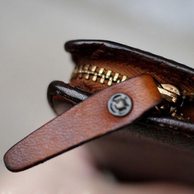 Und Echtem Echte Koreanische Alte Leder Männer Leder Niet Version Lange Frauen Handy Brieftasche Passport 1 Retro Handgemachte AqdxxRB0