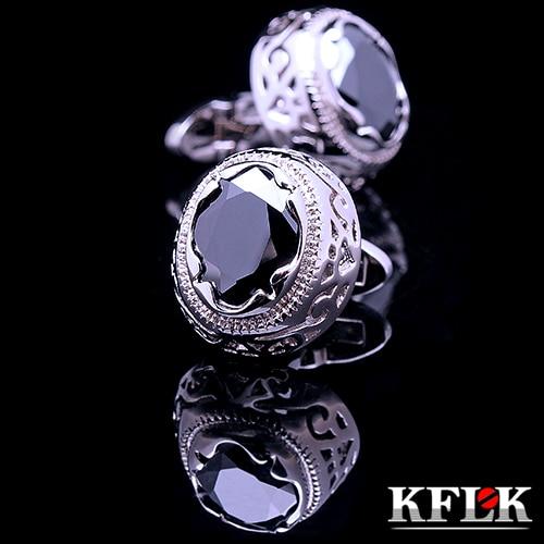 Manșetele KFLK de cămașă de lux pentru bărbați Buton de manșetă retro Retele de manșetă de înaltă calitate Negru abotoaduras aroganță gemelos Bijuterii