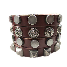 Fashion Punk Round Square Rivets Double Chains Leather Bracelet Personality Cool Rock For Charm Men Women Leather Bracelets