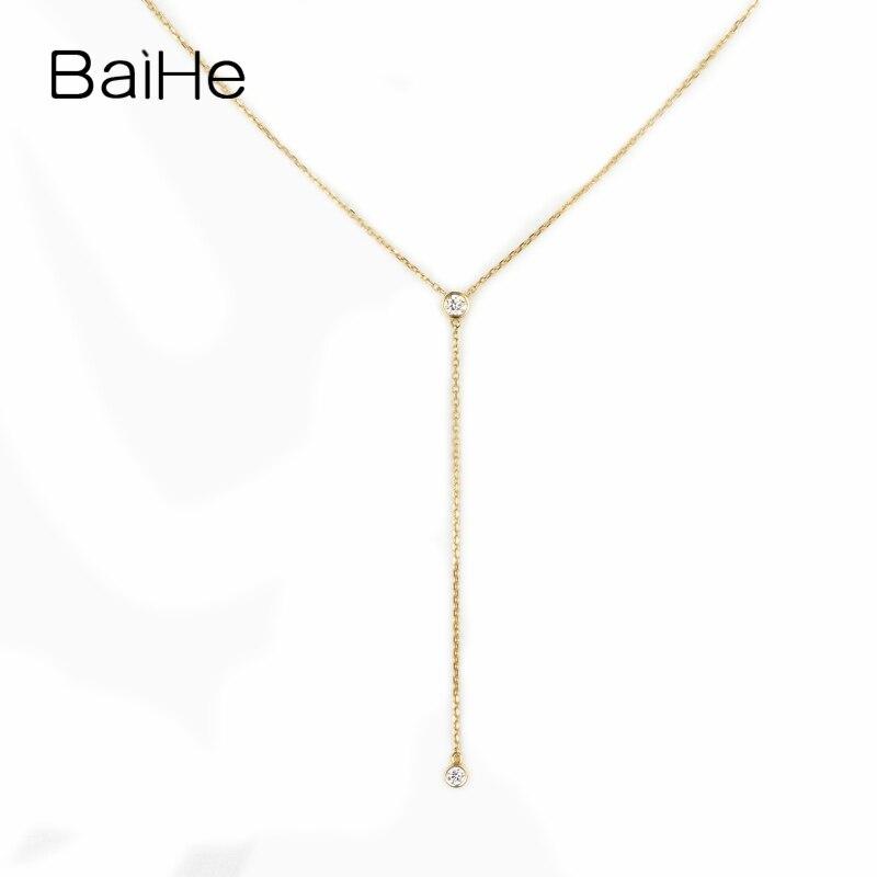 BAIHE Solid 18K Yellow Gold 0.10ct Certified H/SI Natural Diamonds Wedding Women Trendy Fine Jewelry beautiful Diamond Necklaces