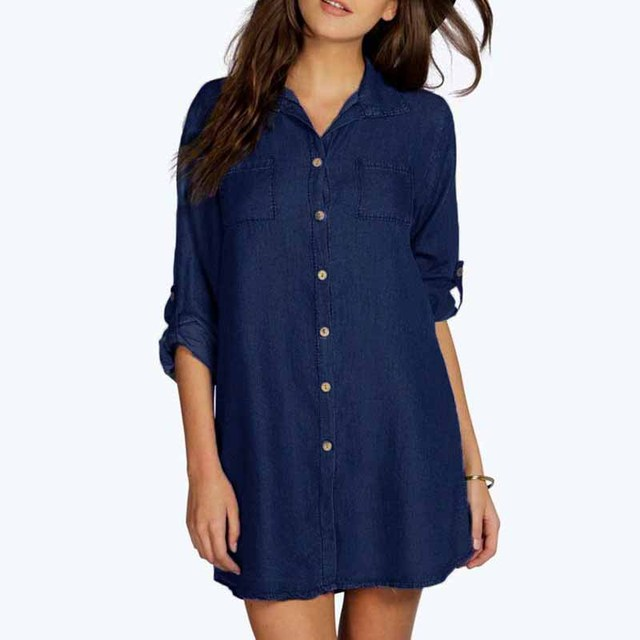 47f7995e5c6e2 ZANZEA Autumn Foldable Long Sleeve Button Pockets Turn Down Collar Female  Loose Denim Blue Shirt Dress Cotton Linen Mini Vestido