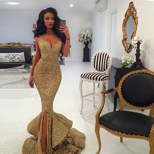 15684cf7 Luxury Gold Sequins Ruffled Mermaid Prom Dresses Sexy Sweetheart Spaghetti  Straps Side Splits Custom Made Evening Gowns