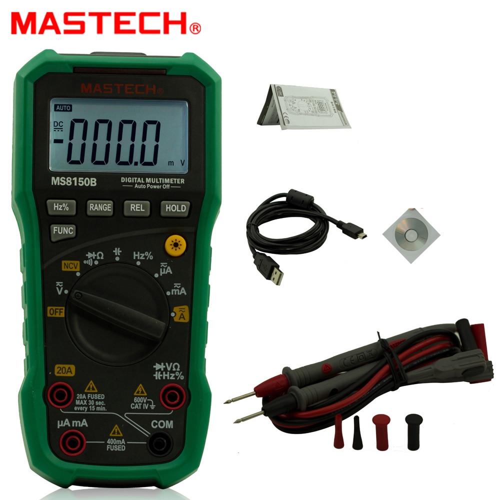 MASTECH MS8150B Multimetro Digitale Con USB di Trasferimento di Dati e Senza contatto Rilevatore di Tensione