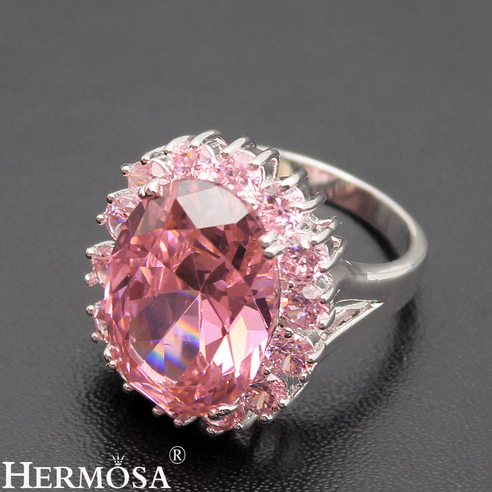 Perfect Shiny Pink Kunzite Sweet LOVE GIFT 925 Sterling Silver Romantic Womens Ring Size 7# 8# 9# HERMOSA Sweetie Gift