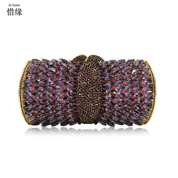 Luxury Crystal Evening Clutch Bag Purple Elegant Women Clutch Handbag Lady Wedding Purse Party Rhinestones Chain Handbag Bags 2017 new luxury crystal evening clutch bag embroidery women clutch handbag lady wedding purse party hand bag ladies gifts coffee