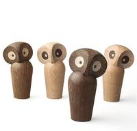 Nordic wood owl ornaments handmade wood furnishings home decoration creative abstract cute owl figurine for children's gift