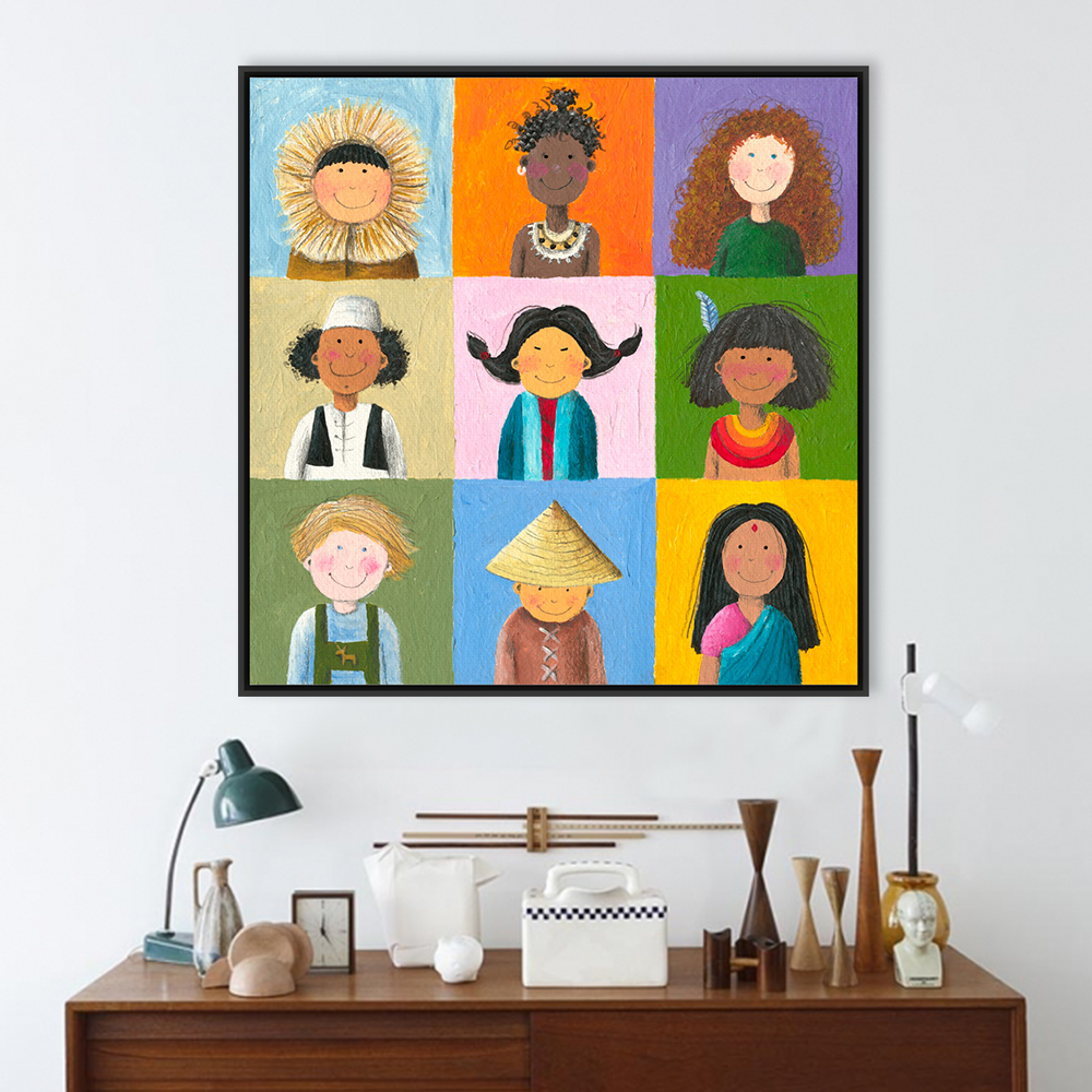 worldwide chinese india africa children a4 large art print poster wall picture canvas oil painting no frame kids room home decor
