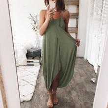 2019 Sexy Spaghetti Strap Irregular Dress New Women Solid Sleeveless Loose Rompers Casual Summer Overalls