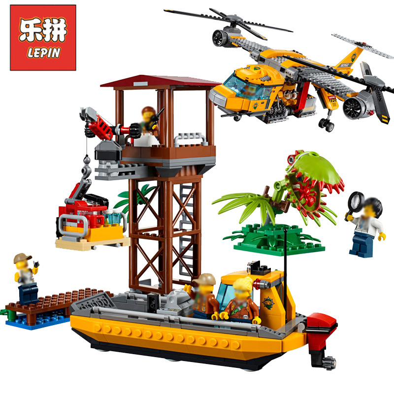 In Stock Lepin Sets 02085 1400Pcs City Figures Jungle Air Drop Helicopter Model Building Kits Blocks Bricks Kids Toys Gift 60162 lepin 02064 404pcs city series jungle semi track car model building blocks bricks toys for children action figures