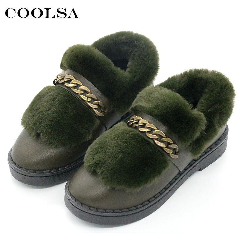 Coolsa New Winter Fashion Women Ankle Snow Boots Fur Bootie Leather Chain Plush Flat Mujer Bottine Waterproof Casual Warm Shoes new fashion warm fur leather men snow shoes flat heels plush ankle winter casual shoes platform outdoor men cotton shoes