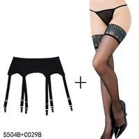 שחור בירית גרב חגורות בירית עם קליפים מתכת בציר 6 רחבות רצועות סקסי שחור סט גרב לנשים/נקבה הלבשה תחתונה סקסית