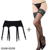 Black Garter Stocking Vintage 6 Wide Straps Sexy Metal Clips Garter Belts with Black Stocking set for Women/Female Sexy Lingerie