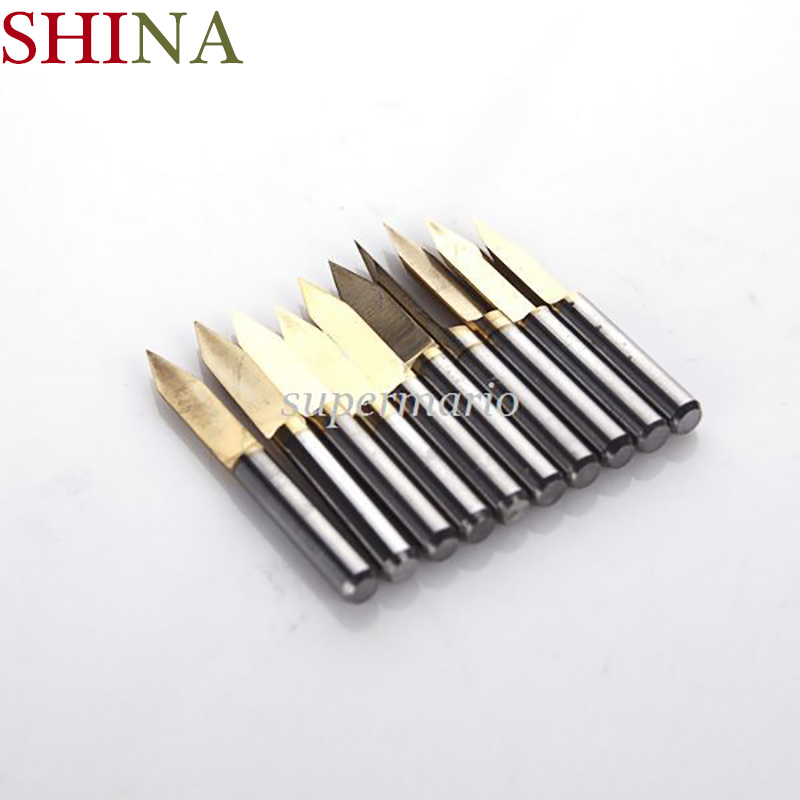 10x Titanium Milling Cutters Coated Carbide PCB Engraving CNC Bit Router Tool 3.175*45 Degree 0.1mm Tip 10pcs 10 x 30 degree 0 1mm titanium milling cutters coated carbide pcb engraving bit cnc router tool tip end mill