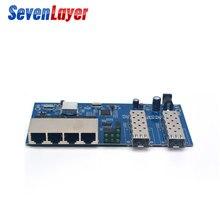 Fiber Optical Media Converter 4 RJ45 2 SFP Gigabit Ethernet switch 10/100/1000M UTP fiber Port Board PCBA