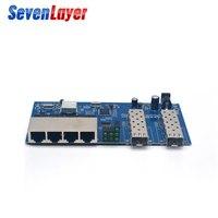 Fiber Optical Media Converter 4 RJ45 2 SFP Gigabit Ethernet switch 10/100/1000M UTP fiber Port free shipping Board PCBA