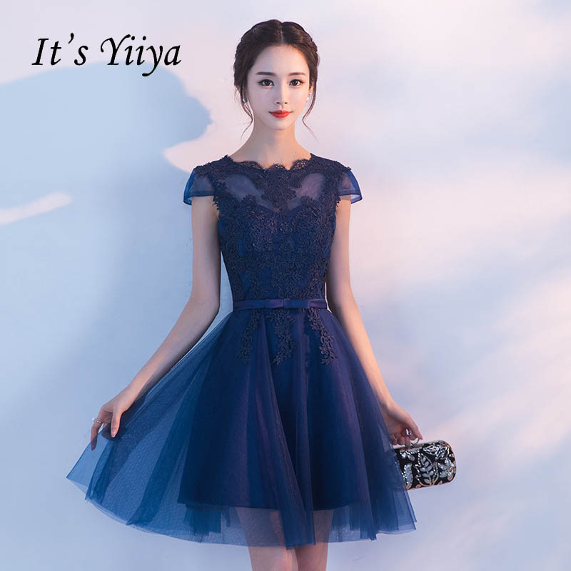 It's YiiYa Luxury Illusion Short Sleeve Appliques Lace Cocktail Dress Knee Length Formal Dress Party Gown LX183
