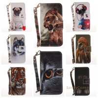 Black Cat Tiger Wolf Pug Leopard Monkey Magnolia Animal Flip Wallet PU Leather Phone Case Cover