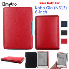 PU Leather Flip Cover Case for Kobo Glo 6 inch Model N613 Rakuten ebook eReader cover with Magnetic Closured Sleep(China)