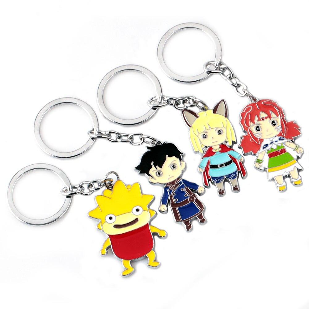 Game Ni no Kuni 2:Revenant Kingdom Keychain Zinc Alloy Colorful Keyring Character Metal Pendant Men jewelry Children Toy Gift