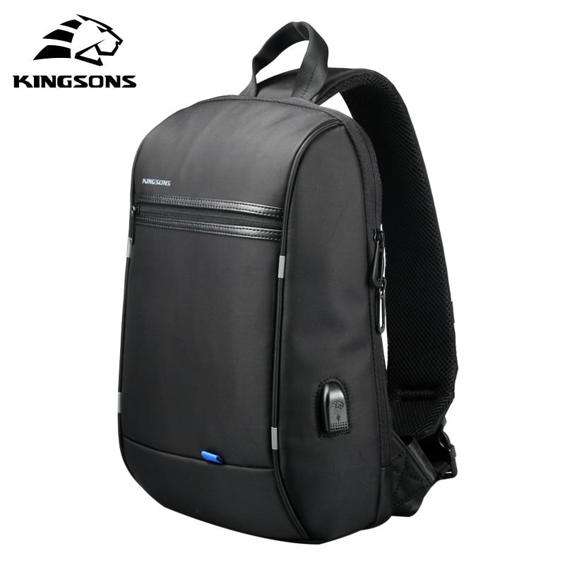 Kingsons 13.3 Inch Laptop Backpack Waterproof Single Shoulder Backpack Men Chest Bag Black Cross Body School Bags