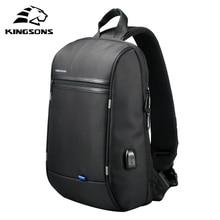 Kingsons 13.3 polegada portátil mochila à prova dsingle água único ombro mochila masculino saco peito preto cruz corpo sacos de escola
