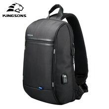Kingsons sac à dos à épaule imperméable simple pour hommes, sacoche de poitrine noire 13.3 pouces sac à dos pour ordinateur portable
