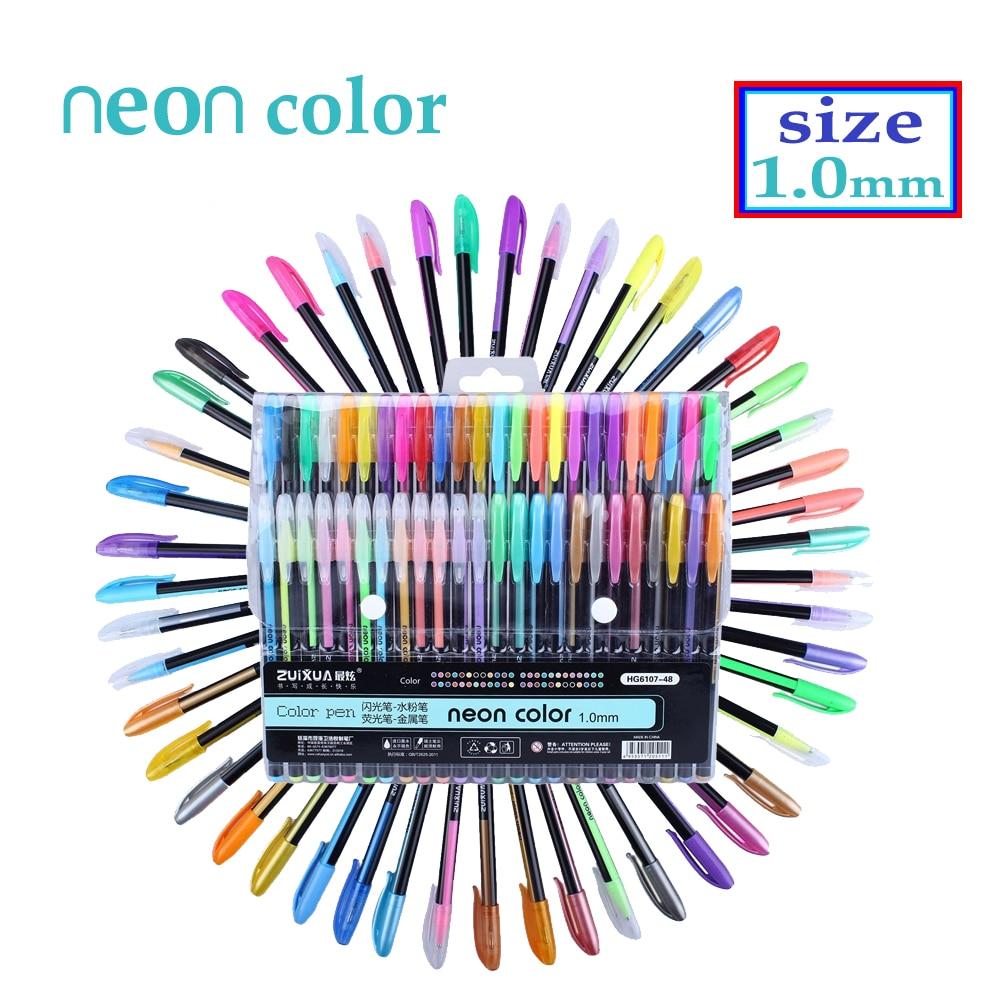 48 Color Gel Pens Set Refills Pastel Neon Glitter Sketch  Drawing Color