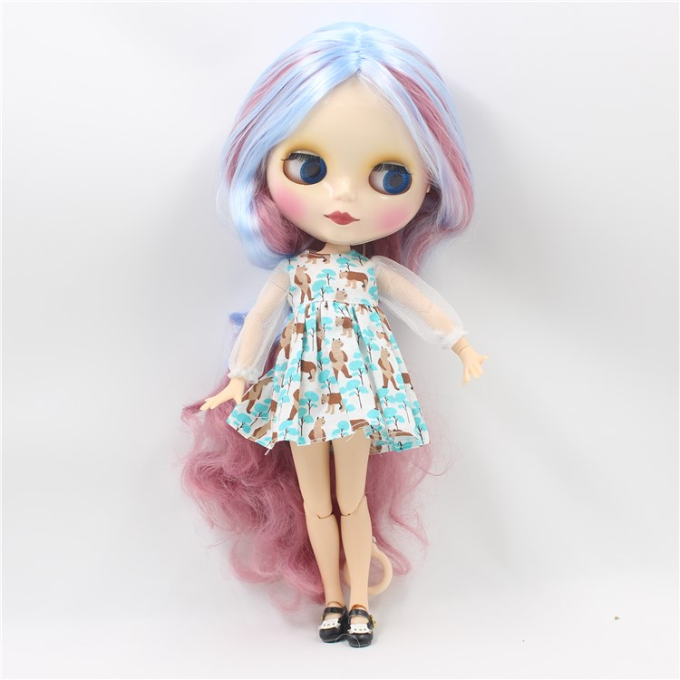 Nude Blyth doll with joint body double colors long hair DIY face makup fashion dolls toys for girls