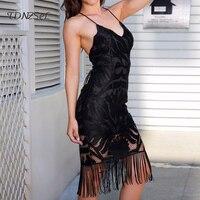Sexy Women Tassel Dress Straps Bandage Backless Slim Lace Dress High Quality Elegant Party Summer Beach