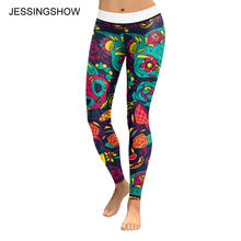 Jessingshow New European Style Leggings Women Colorful Flower Cat Printing Woman Leggins Fitness Legging Elastic Mujer Pants(China)