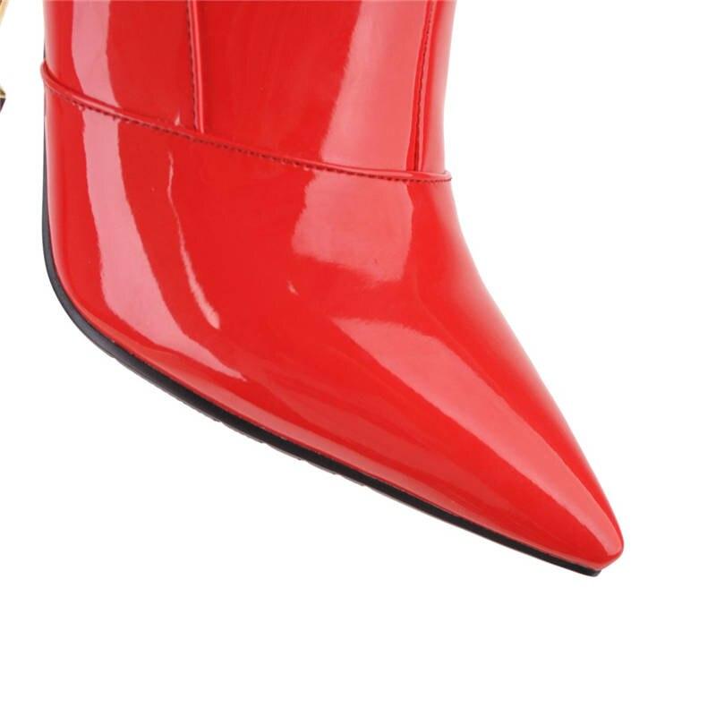 Otoño rojo Tacones Zapatos De Mantener Sólido Sexy Rodilla Hot 2018 Caliente Aguja Charol La Sobre Botas plata Invierno Morazora Muslo Alta blanco Negro 7cRaZva