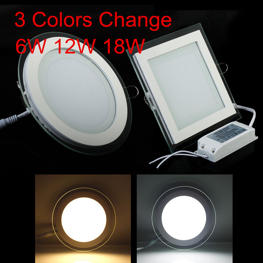 hot sales 6e04b 60905 US $4.91 29% OFF|Free Shipping 24W Round/Square 3 Colors Change Glass LED  Downlight Recessed LED Panel Light Spot Ceiling Down Light AC110V 220V-in  ...
