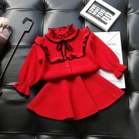 2 Pcs Knitted Cotton Baby Girls Clothing Sets 2018 Autumn Winter Children Toddler Cloths Outfits Sweaters Skits Suit For Girls