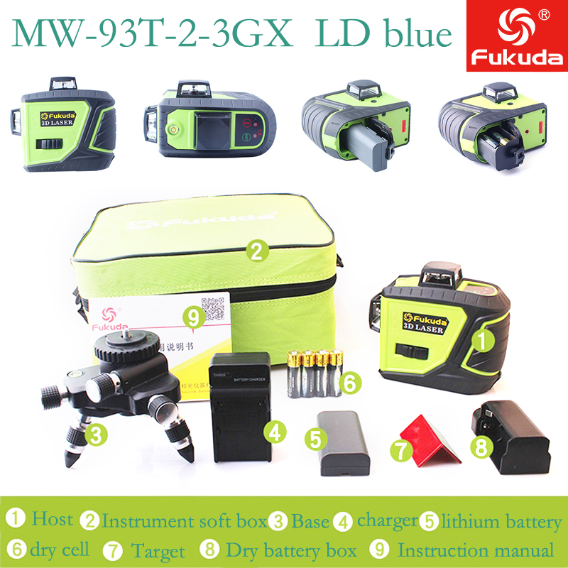 MW 93T 2 3GX 12 Lines Osram Blue Laser Level with Battery 3D Laser Beam Line