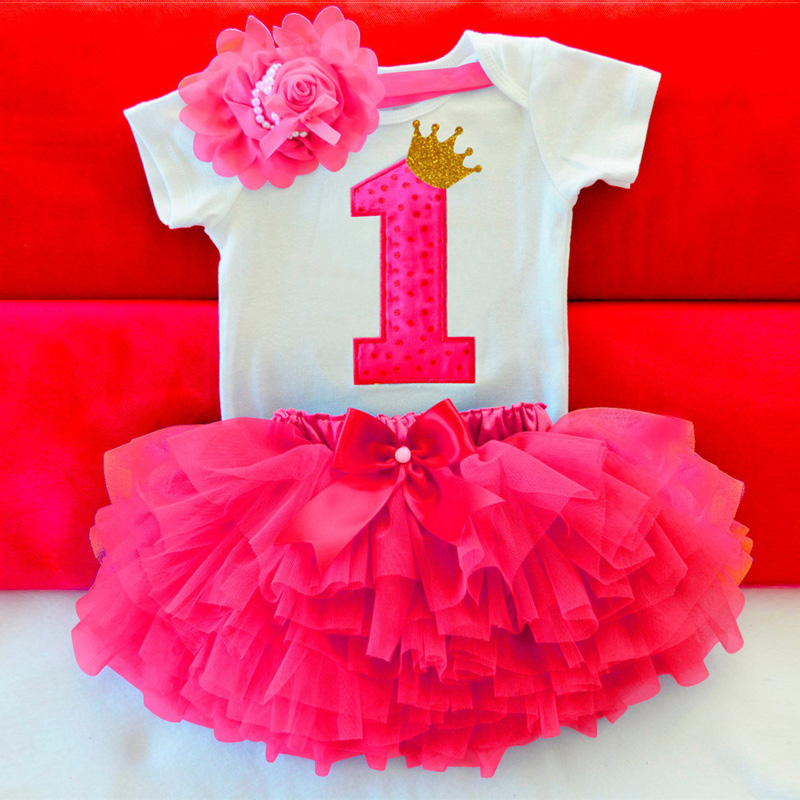 Ai Meng Baby Summer Girl Dress First 1st Birthday Cake Smash Outfits Clothing 3pcs Sets Romper Tutu Skirt Headband Infant Suits plain headband 3pcs