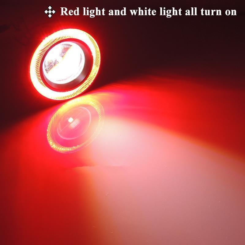 CYAN SOIL BAY 2pcs 12V High Power Car 3.5 Projector White Color LED Fog Light  Red COB Halo Angel Eye Rings mp620 mp622 mp625 projector color wheel mp620 mp622 mp625