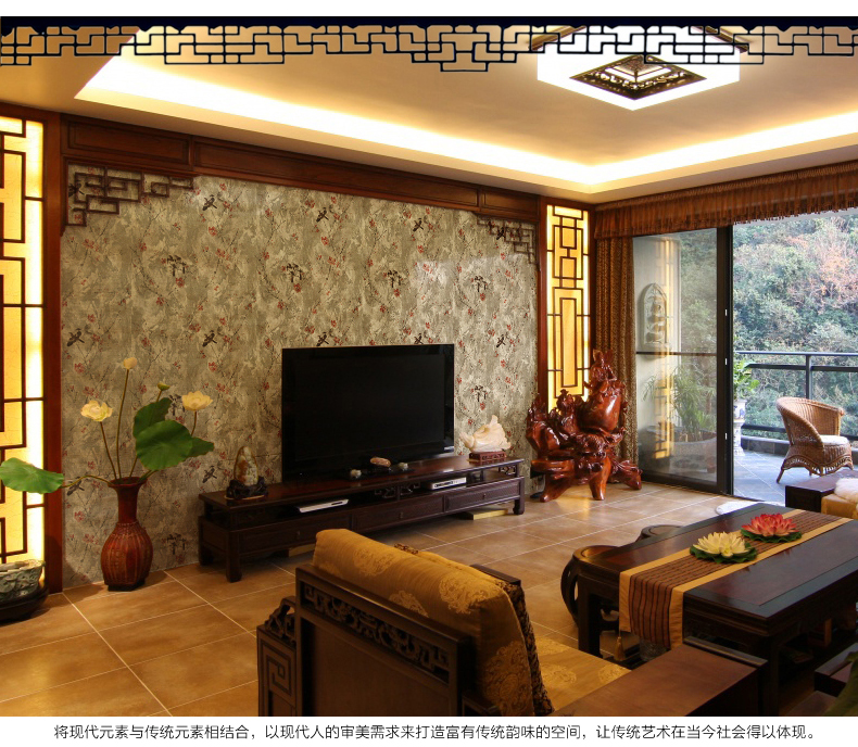 2017 With Continental classical gold plum flowers Retro wallpaper backdrop living room restaurant study clubs