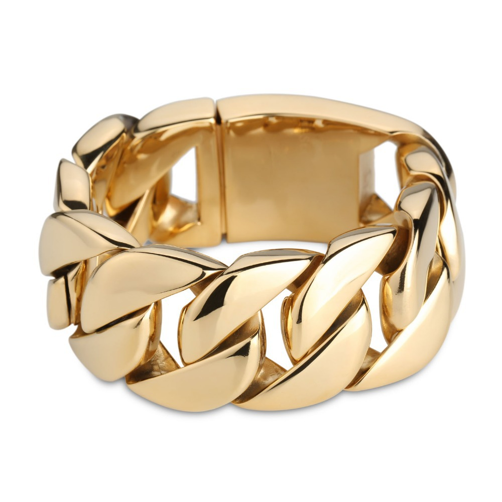 Arabic Gold Jewelry Huge Heavy Luxury Cool Man Bracelet L Men Stainless