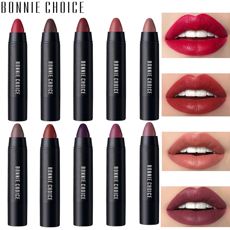 BONNIE CHOICE 10 Colors Matte Lipsticks Waterproof Matte Velvet Lip Sticks Cosmetic Easy To Wear Lipstick Matte Beauty Lipstick