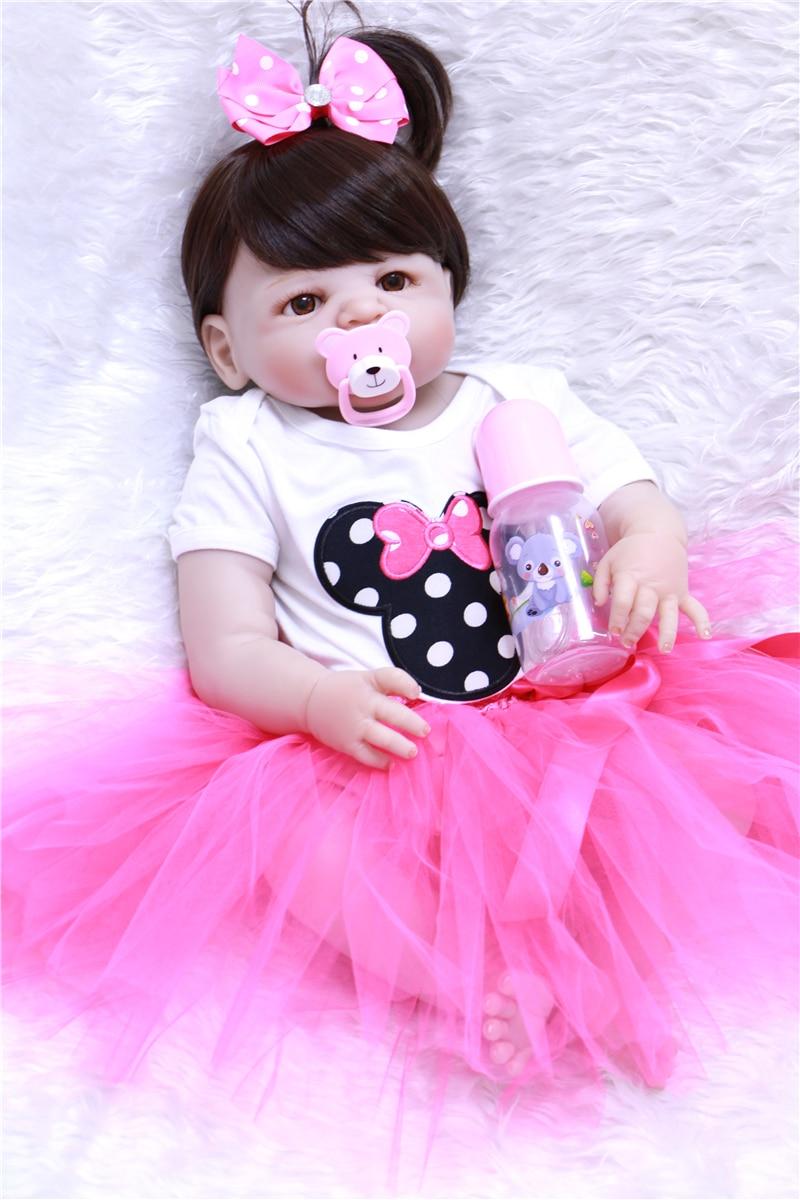 NPK dolls reborn 23 57cm full silicone reborn baby girl doll bebes reborn corpo de silicone