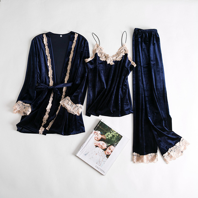 Autumn Winter Women   Pajamas     Set   Velvet Warm Cami+Pants+Robe Home Wear Sexy Lace Trim Nightwear Suit Lounge Home Wear M L XL