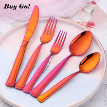 Flatware 5//20/35PCS Multicolor Rainbow Cutlery Set 18/10 Stainless Steel Dinnerware Dinner Knife Fork Tableware Gadgets