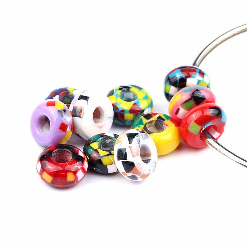 10 unids/lote mezclado Europea Charms perlas agujero grande perlas de resina violeta para fabricación de joyería DIY Accesorios
