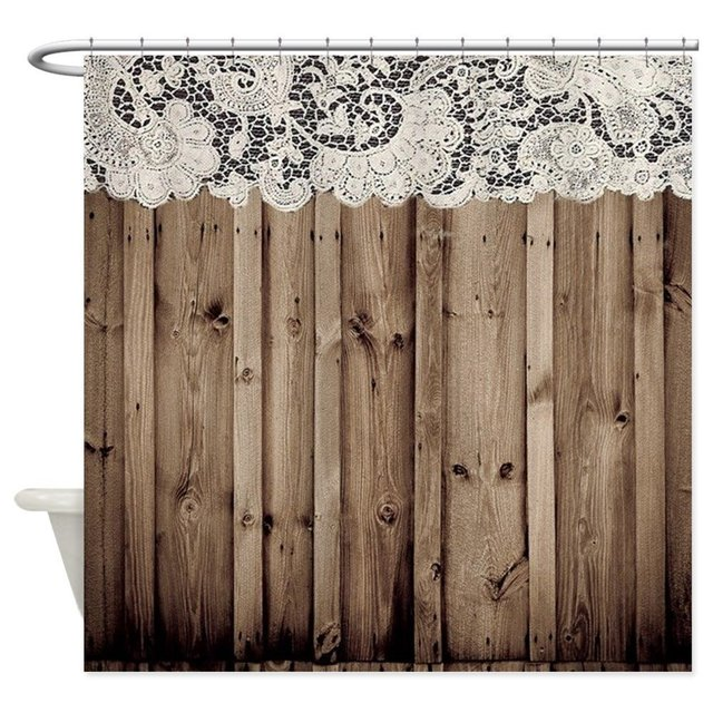 Shabby Chic Lace Barn Wood Decorative Fabric Shower Curtain Set And Anti Slip Floor Mat